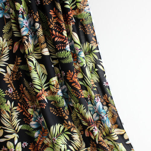 Maui Floral Viscose Poplin - Black   Blackbird Fabrics