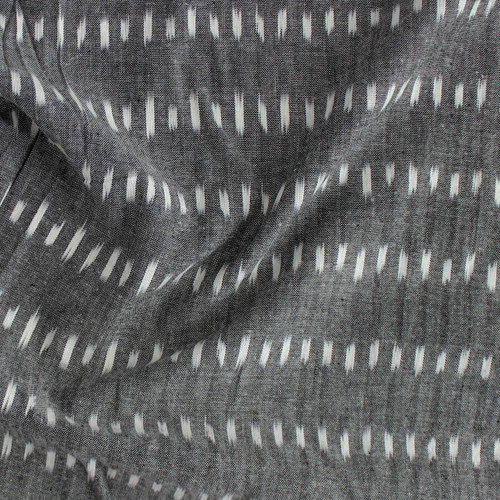 Dashed Cotton Indian Ikat - Charcoal/White | Blackbird Fabrics