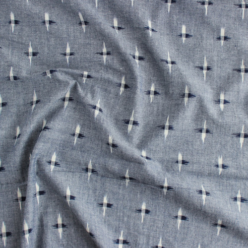 Crossed Cotton Indian Ikat - Navy/White | Blackbird Fabrics