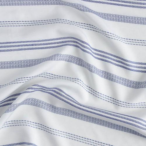 Woven Stripe Viscose Poplin - Blue | Blackbird Fabrics