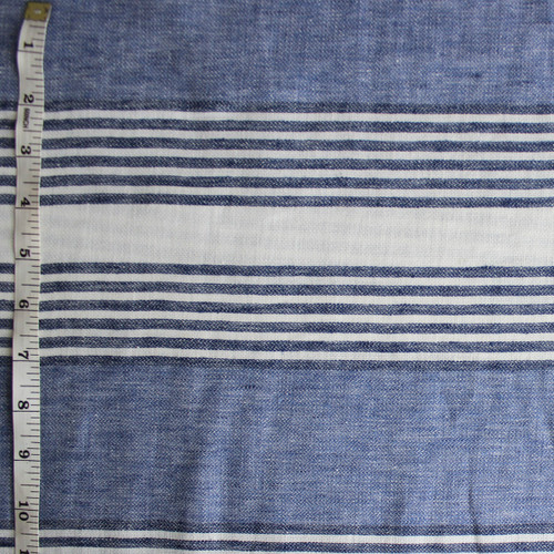 Irregular Striped Linen Cotton - Blue/Navy/White - 1/2 meter