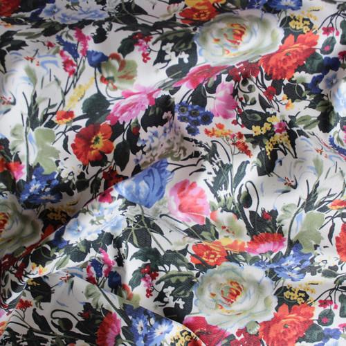 Floral Stretch Cotton Twill - Multicolour - 1/2 meter