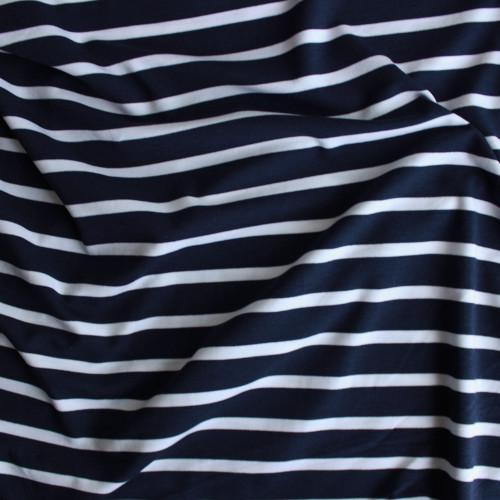 Bamboo & Cotton Striped Jersey Knit - Navy/White | Blackbird Fabrics