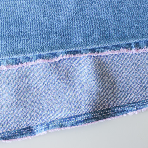 10oz Cotton Denim - Light Blue Wash (with Pink) | Blackbird Fabrics