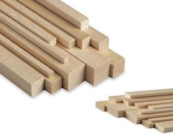 "Basswood stick, 1/16 x 1/16 x 48"", Sold By Each 