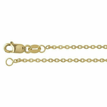 """14K Yellow Gold 1.3mm Beveled Oval Cable Chain 18"""" 