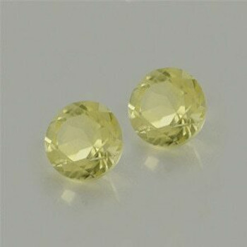 5x5x3.6 mm Round Loupe Clean Yellowish Green Lemon Quartz, Sold By each | RG024