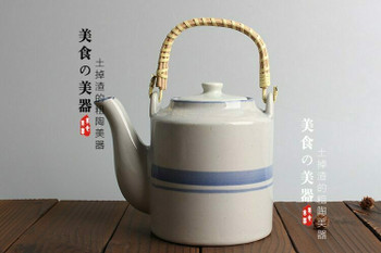 LIft Handle Blue Strip Teapot | TDLH1