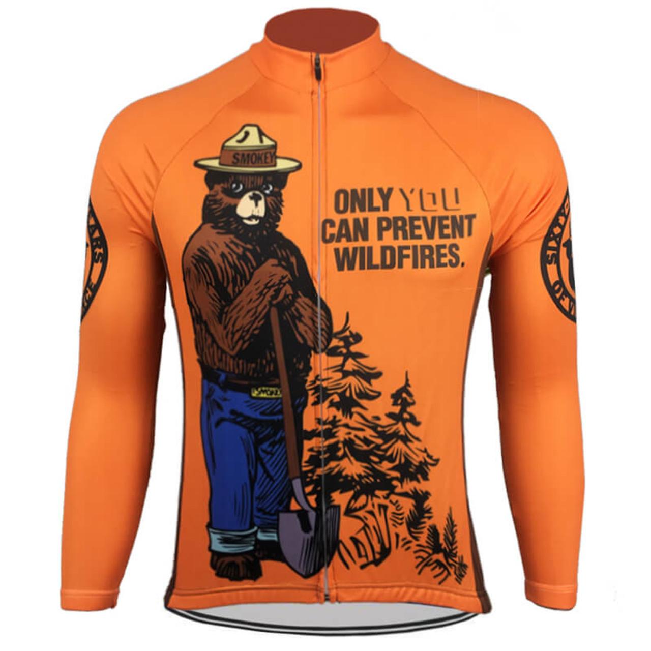 smokey bear prevent wild fires retro long sleeve cycling jersey