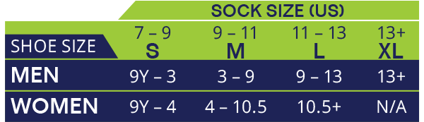 Sock Sizing Chart for Socks Made From Bamboo and Other Materials