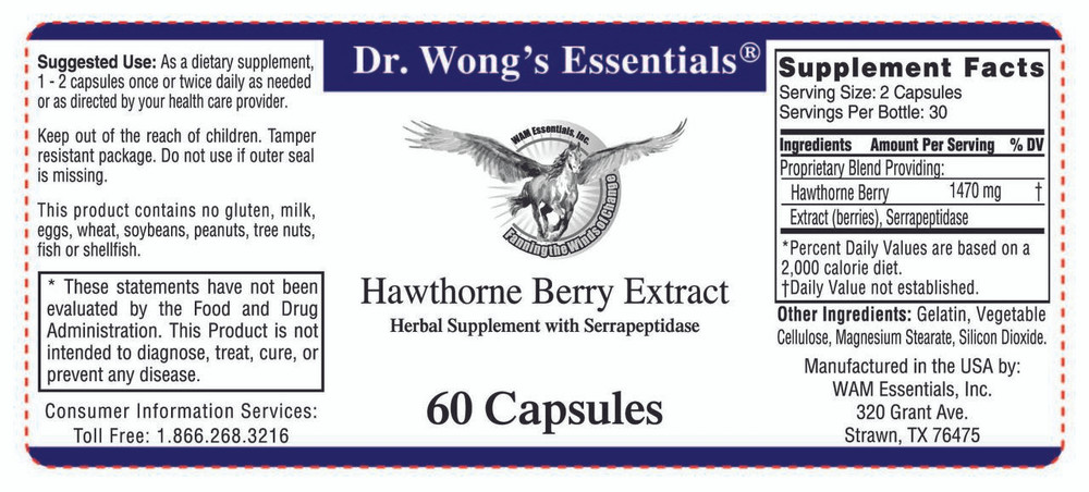 Hawthorne Berry Extract: label information