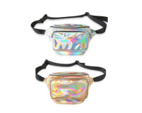 Front view of gold and silver holographic fanny pack (sold individually)