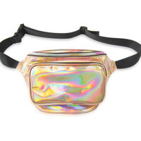Front view of gold fanny pack