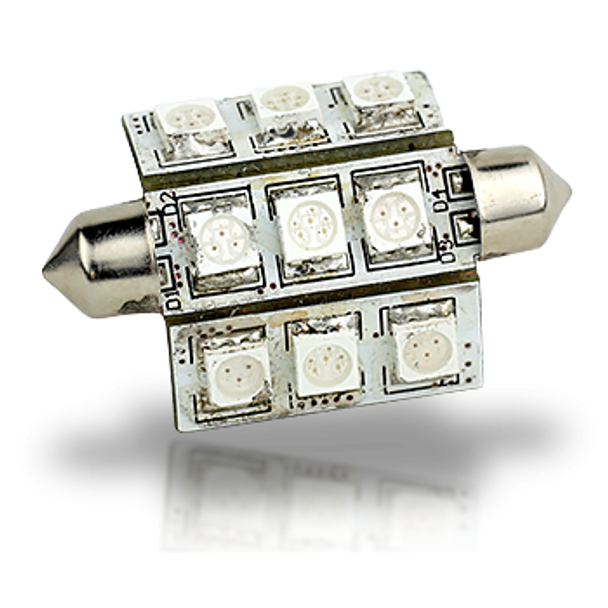 Lunasea Pointed Festoon 9 LED, 270 Degree, Light Bulb - 42mm   LLB-189C-21-01