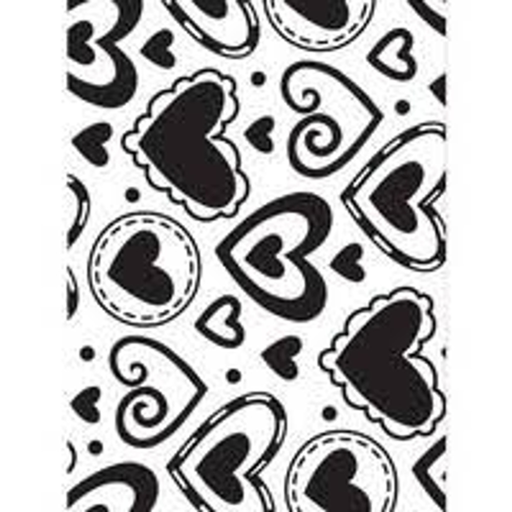 """Background Embossing Folder 4.25""""X5.75"""" - Layered Hearts"""