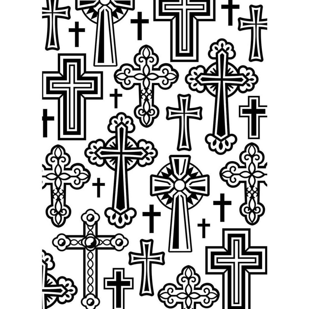 """Background Embossing Folder 4.25""""X5.75"""" - Crosses"""