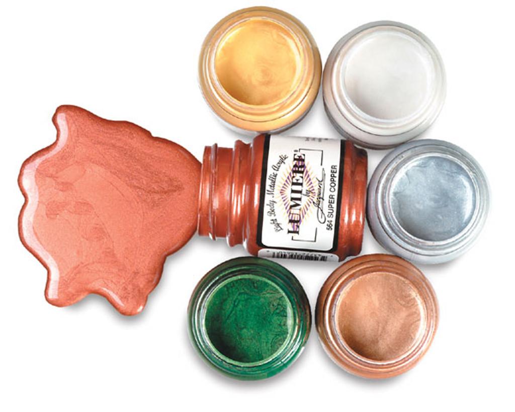 Jacquard Lumiere Metallic Acrylic Paint 2.25oz - Halo Pink Gold