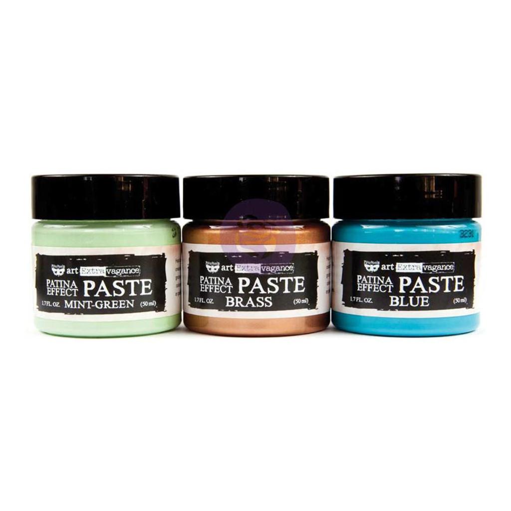 Finnabair Art Extravagance Patina Effect Paste 3/Pkg - Mint Green, Blue, Brass