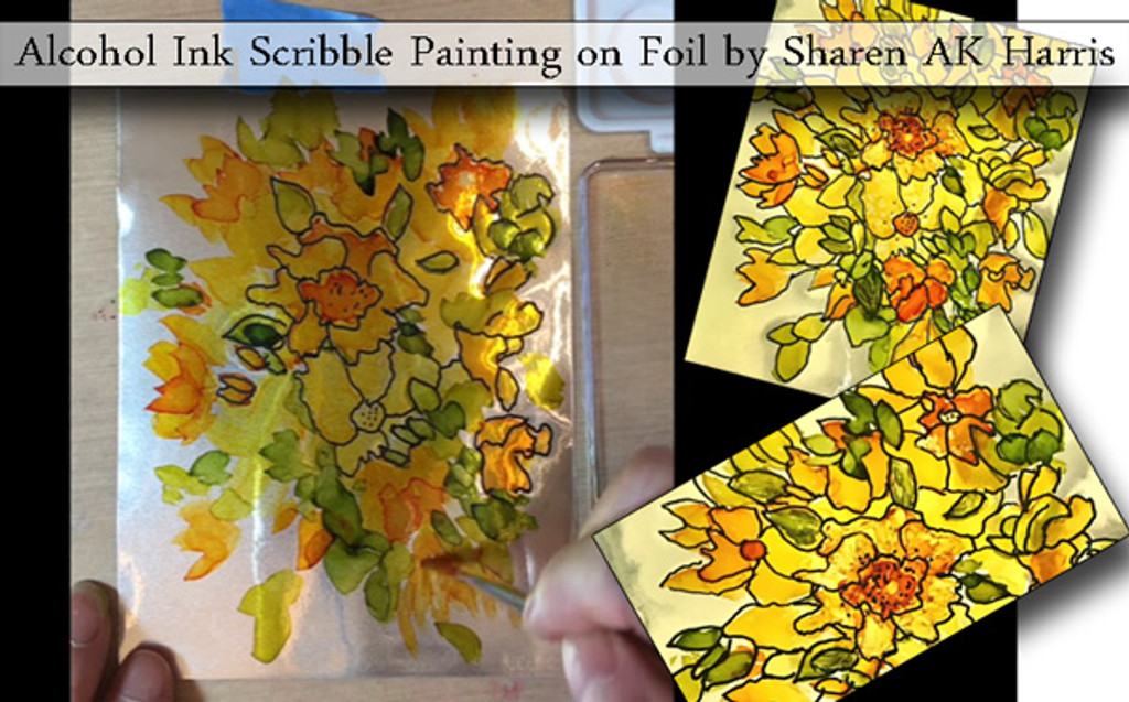 Alcohol Ink Flower Painting on Foil Free Video