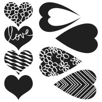 Stencil Mix and Match Hearts 6 x 6