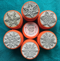 Snowflake TextureStax set of 6 round Stamps