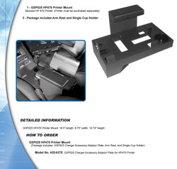 JottoDesk Charger 2008-2010 GSP025 HP470 Printer Mount Package includes Adapter Plate Arm Rest and Cup Holder