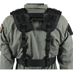 BLACKHAWK SPECIAL OPERATIONS H-GEAR SHOULDER HARNESS, Fully adjustable and attaches to any belt up to 2.25 inches wide, Heavy-duty drag handle, Black, 35SS00BK