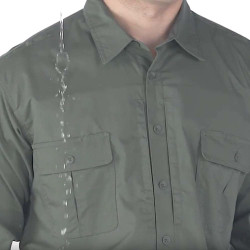 Propper Men's Kinetic® Tactical Button-Down Shirt, Long Sleeve, 79% polyester 21% cotton ripstop NEXStretch® fabric w/DWR, available in black, khaki, olive and LAPD Navy, F5371