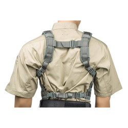BLACKHAWK SPLIT FRONT CHEST RIG, Adjustable padded shoulder straps, Three antenna or hydration tube sleeves on each shoulder, Two internal mesh pockets providing either top or side access, 55SF00