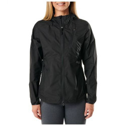 5.11 Tactical WOMEN'S CASCADIA WINDBREAKER PACKABLE JACKET, Venting at upper back body, Packable chest pocket with hanger internal loop, Brushed tricot lining on chin guard and hand pockets, 38075