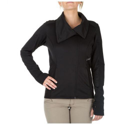 5.11 Tactical KINETIC FULL ZIP, 94% polyester / 6% spandex blend, Thumbholes keep sleeves down, Drop tail hemline prevents riding up, Cowl neck collar can be worn down or securely snapped up, 62075