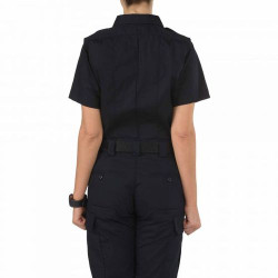 5.11 Tactical WOMEN'S TACLITE® PDU® CLASS-B SHORT SLEEVE SHIRT, polyester/cotton ripstop fabric, Enhanced range of motion and storage capacity, Pass-through mic cord access, Epaulette kit included, Midnight Navy, 61168