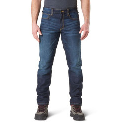 5.11 Tactical Defender-flex Slim Men's Jean, 76% cotton, 24% polyester, available in Black, Indigo, and Dark Wash Indigo 74465