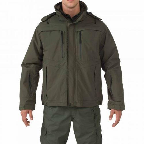5.11 Tactical MEN'S VALIANT DUTY JACKET, 5-in-1, Convertible to a soft-shell coat or vest, Roll-up hood with integrated visor, includes Epaulette and badge tab kit, Choose Black, Brown, Dark Green or Navy, Regular Fit, 48153