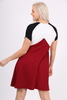 Wine Colour Block Mesh Swing Dress