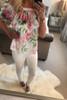 Rosin Satin  White Floral Bardot Top