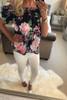 Leana Satin Navy Floral Bardot Top