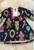 Navy Decoration Children's Christmas Swing Dress