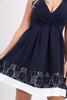 Oksana Navy Wrap Skater Dress