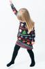 Children's Multi-Pattern Geometric Christmas Swing Dress