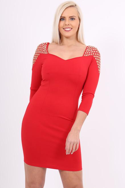 Lux Red Anastasia Jewel Bodycon Dress