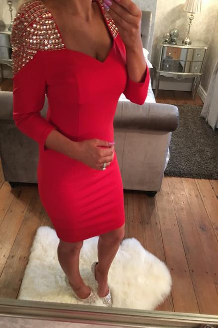 Lux Red Anastasia Jewel Bodycon.