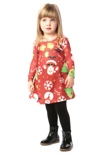 Red Magical Children's Christmas Swing Dress