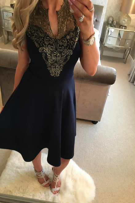 Navy Moana Gold Trim Skater Dress