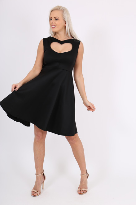 Black Heart Valentines Skater Dress