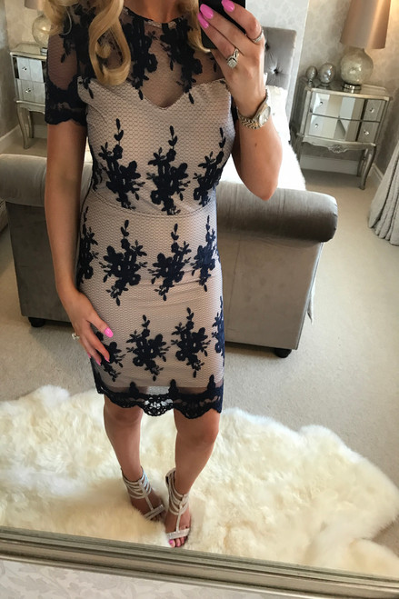 Navy Heather Lace Bodycon Dress