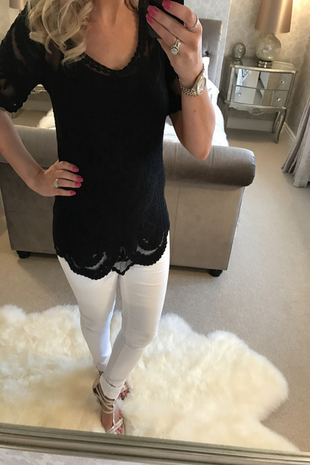 Black Kennedi Crochet Top with Camisole