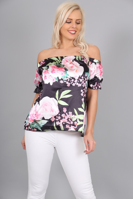 Ciara Satin Black Floral Bardot Top