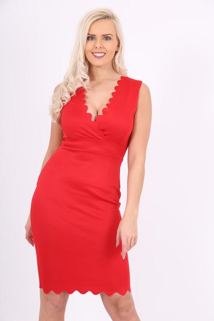 Scallop Red Bodycon Dress