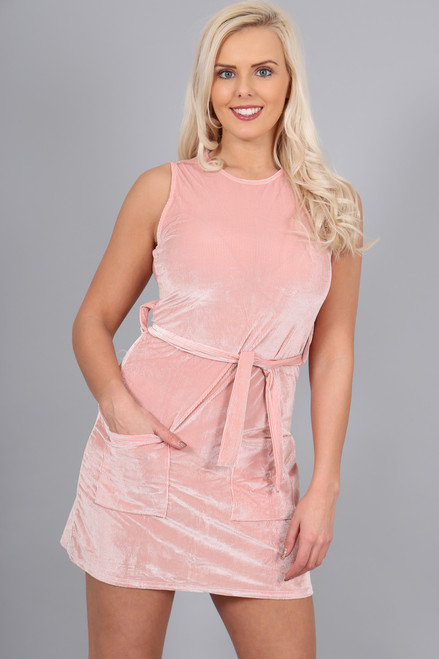 Pink Pocket Corduroy Shift Dress.
